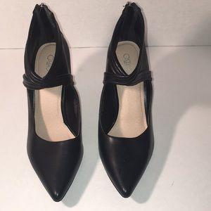 Cato Black Leather Heels